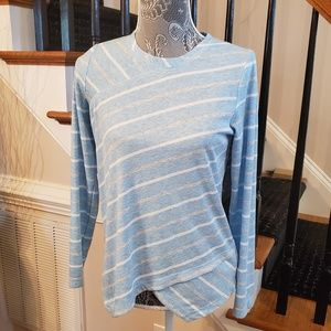 Jones New York Light Blue Striped Long Sleeve Top